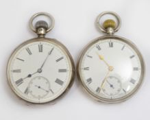 Two silver H/M top-wind pocket watches, both unsigned with clean white enamel dials, one with a