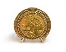 A 1982 half sovereign set 9ct H/M ring, size P, approx 12gms