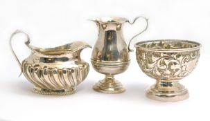 Two silver H/M Victorian & Edwardian jugs (1876 & 1910) together with a H/M 1876 Victorian bowl, one