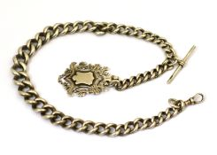 A heavy silver graduated curb link watch chain with attached fob medal, approx 89g