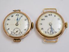 ROLEX - Two 9ct 1920's ladies Rolex mechanical watch heads, both with white enamel dials with