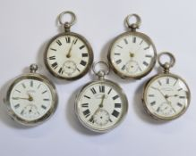 Five silver non-working key-wind pocket watches, for spares or repair