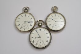 Three silver top-wind pocket watches to include a Waltham, all A/F require service