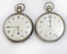 Two silver H/M top-wind pocket watches, both with minor wear to white enamel dials, both working