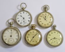Four nickel cased pocket watches together with a nickel cased stopwatch