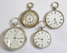 Four silver key-wind pocket watches, with clean white enamel dials (one with minor hairline