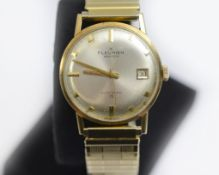 A 9ct H/M Automatic gents Fleurier 25 jewelled wristwatch, on a gold plated expandable strap,