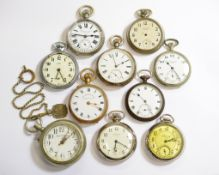 Ten nickel cased non-working pocket watches, for spares or repair