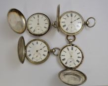 Four silver full hunter non-working  key-wind pocket watches, for spares or repair