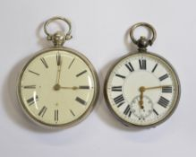Two silver key-wind pocket watches, both with minor hairline fractures to white enamel dials, one