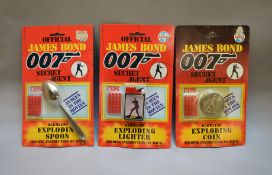 James Bond 007.  3 individually carded Coibel James Bond Secret Agents Gadgets from 1985