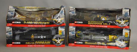 4 Corgi Classic Warbirds 1:18 scale boxed models; Supermarine Spitfire Mk.I, P-40 Warhawk, F4U-1A