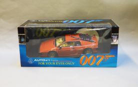 James Bond 007. A boxed Autoart 1:18 scale Lotus Esprit Turbo, issued in 1999, modelled on the
