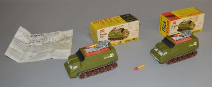 2 boxed Dinky Toys 353 Shado 2 Mobiles, both being variants with brown plastic wheels, pale green