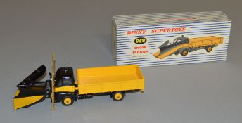 A boxed Dinky Toys 958 Guy Warrior Snow Plough with yellow and black plough blade, appears G+/VG