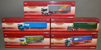 5 Corgi 1:50 scale die-cast truck models, which includes; H. Wragg, Ludlow, D Curran & Sons LTD