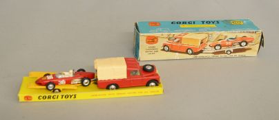 A boxed Corgi Toys GS17 'Land Rover with Ferrari Racing Car on Trailer', overall G on G plinth in