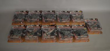 11 Battlestar Galactica carded figures; Cylon Raider and Colonial Viper (11)