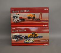 "2 Corgi 1:50 scale die-cast truck model sets from the ""Heavy Haulage"" range; #CC14014, #CC13427"