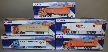 5 Corgi 1:50 scale die-cast truck models, which includes; A Campbell, M.Way & Son etc which are