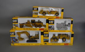 5 Caterpillar die-cast scale boxed models by Norscot, including; Wheel Dozer, 2 - Ton Tractor etc (