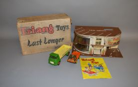 A boxed Tri-ang Model 'A' Minic Garage, overall G but with some distortion to plastic window glazing