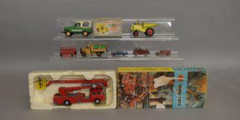 Corgi #1127 Simon Snorkel Fire Engine, Dinky #962 Dumper Truck along with 6 loose die-cast models (