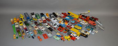 A good quantity of playworn diecast models by Corgi, Dinky, Matchbiox and others, and also
