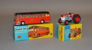 2 boxed Corgi Toys, 66 Massey Ferguson 165 Tractor, G+ in G box and 1120 Midland Red Motorway