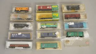 N Gauge. EX SHOP STOCK. 14 boxed items of Rolling Stock by 'Life-Like', Minitrix, Kato and others
