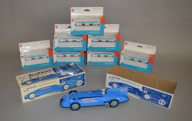 A boxed tinplate Bluebird Land Speed Record Car model from the Schylling Collectors Series, VG in
