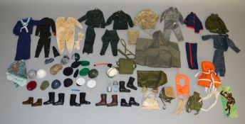 A quantity of unboxed vintage Action Man clothing, headgear and boots, also including some