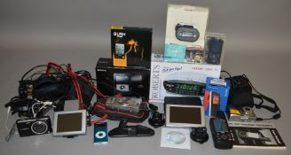 An assortment of electronic equipment, some boxed,  including  a  Roberts Chrono Logic VI Dual Alarm