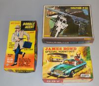 Mike Hazard Double Agent boxed action figure by Marx, comes with equipment manual, trench coat,