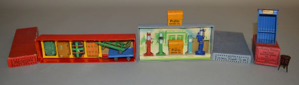 A boxed vintage Dinky Toys 49 Petrol Pumps set, which includes an additional 'Pratts Oil Bin', F/G