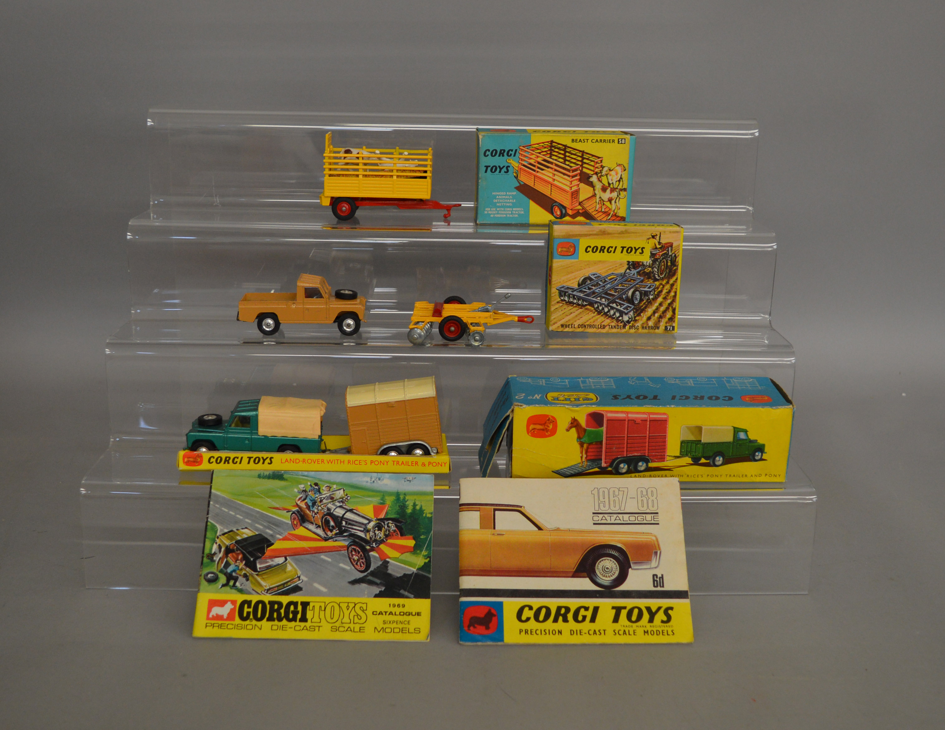 Lot 59 - 3 boxed Corgi Toys agricultural models including Gift Set No.2 'Land Rover and 'Rice's' Pony Trailer