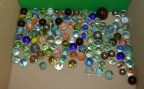112  vintage Marbles of various sizes, colours and styles together with eight variously sized ball