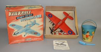2 Vintage Toys including a  boxed KeilKraft 'Ready to Fly' plastic Hurricane model with 'Wen-Mac