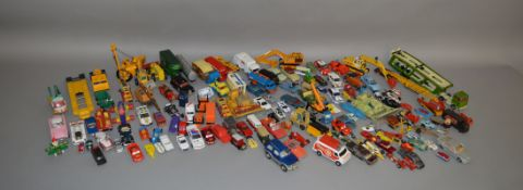 A good quantity of playworn diecast models by Dinky, Corgi, Lledo, Matchbiox and others, and also