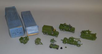 7 unboxed vuintage Dinky Toys Military Vehicles including 152c Austin Seven with driver, 161A