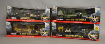 4 Corgi Classic Warbirds 1:18 scale boxed models; Supermarine Spitfire Mk.I, P-40 Warhawk, Ju-87B