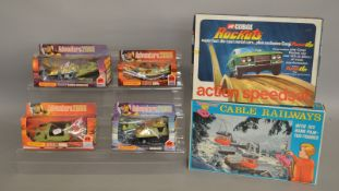 A boxed Cable Railways set by Blue-Box #77797 together with Corgi Rockets Action Speedset 1925 (