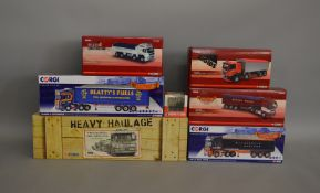 6 Corgi die-cast 1:50 scale truck boxed models along with a Moffett KooI (7).