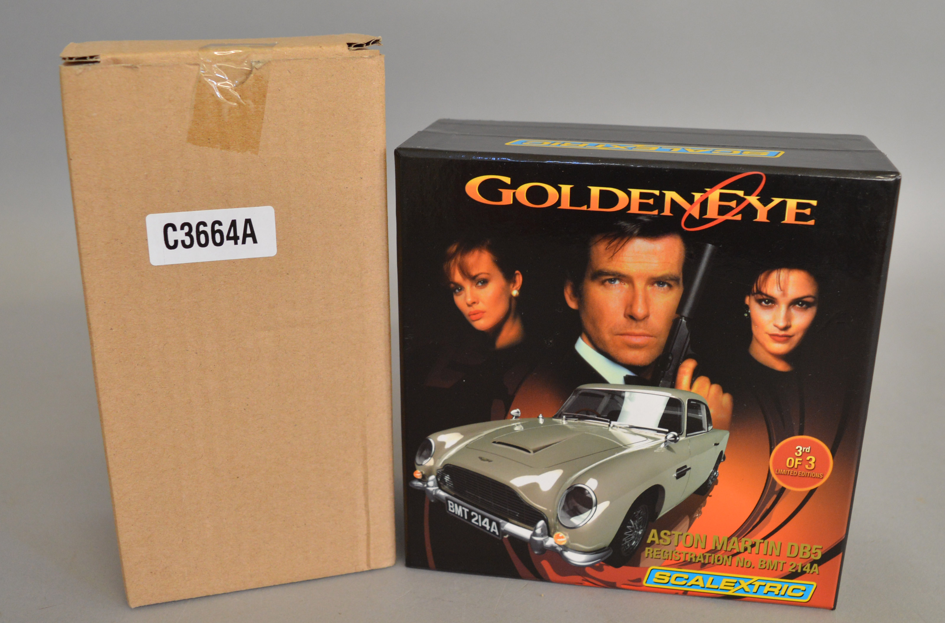 Lot 54 - James Bond 007.  A boxed Scalextric Aston Martin DB5 slot car,  C3664A '50th Anniversary Goldfinger'