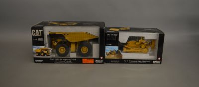 2 CAT 1:50 scale boxed die-cast models by Norscot; #55070 and 55151