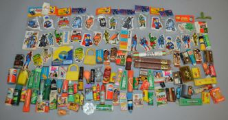 An interesting selection of vintage novelty Erasers, ex-shop  stock from a Post Office which