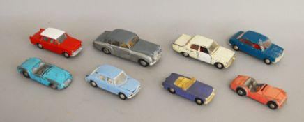 8 unboxed playworn Tri-ang Spot On diecast model cars including Bentley, Austin 1800, Hillman