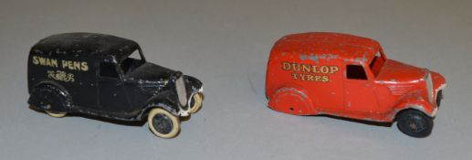 2 unboxed Pre-War Dinky Toys Vans including a 28h Delivery Van 'Dunlop Tyres' (Type 2) in red, F but