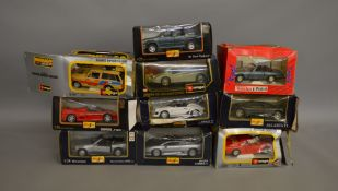 10 1:24 scale diecast model cars by Maisto, Burago, Tonka etc. Overall appear G/VG although