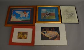 5 framed Disney related prints including scenes featuring various different popular characters,